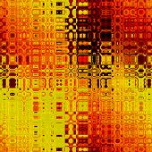 art abstract colorful geometric seamless pattern; background in bright gold, orange, red, black and