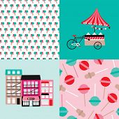 Ice cream bike candy shop and lollipop popsicle illustration background pattern in vector