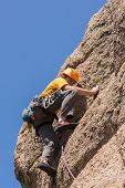 Senior Man On Steep Rock Climb In Colorado