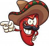 Cartoon Mexican pepper. Vector clip art illustration with simple gradients. All in a single layer.