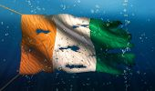Cote D'ivoire Under Water Sea Flag National Torn Bubble 3D