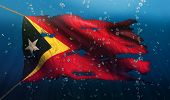 Timor Leste Under Water Sea Flag National Torn Bubble 3D