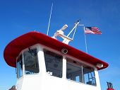 Ferry Boat Cockpit With Usa Flag Flying Overhead