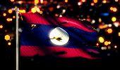 Laos National Flag Torn Burned War Freedom Night 3D