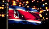 North Korea National Flag Torn Burned War Freedom Night 3D