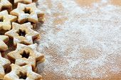 foto of linzer  - Traditional Austrian Linzer cookies in a shape of star - JPG