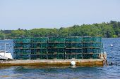 Lobster Traps At A Fishing Pier In Coastal Maine, New England