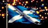 Scotland National Flag Torn Burned War Freedom Night 3D