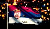 Serbia National Flag Torn Burned War Freedom Night 3D
