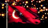 Turkey National Flag Torn Burned War Freedom Night 3D