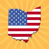 Ohio map flag on yellow sunburst illustration