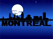 Montreal skyline reflected with text and moon vector illustration
