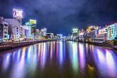 FUKUOKA, JAPAN - DECEMBER 7, 2012: Fukuoka Cityscape along the Naka River. The area is the center of