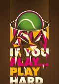 Conceptual tennis poster. Vector illustration.