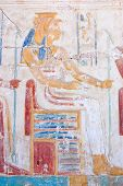 picture of sceptre  - An Ancient Egyptian carved hieroglyphic painting of the goddess Mut - JPG