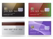 Set of glossy credit cards.
