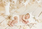 Newborn Sleeping Baby Portrait, New Born Little Child Lying On Autumn White Art Leaves, Dreaming