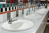 Washbasin In Public Toilet.