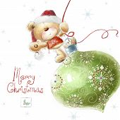 picture of christmas baby  - Cute teddy bear with the big Christmas tree toy  in the Santa hat - JPG