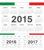 Vector Italian Circle Calendars 2015, 2016, 2017