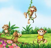 Illustration of monkeys playing in the field