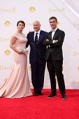 vLOS ANGELES - AUG 25:  Gail Simmons, Tom Colicchio, Hugh Acheson at the 2014 Primetime Emmy Awards