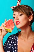Young beautiful girl with watermelon