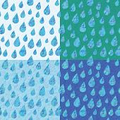 Set of four seamless patterns with rain drops.