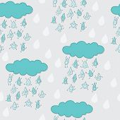 Happy funny raindrops seamless pattern.