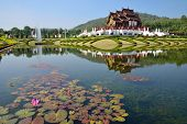 Ho Kham Luang At Royal Flora Expo, Traditional Thai Architecture In The Lanna Style