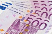Stack Of Money With Large 500 Euro Banknotes