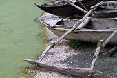 Old wooden canoe