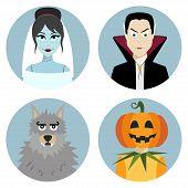 Halloween character set. Vampire, werewolf, dead bride, Jack-o-Lantern