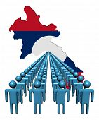 Lines of people with Laos map flag illustration
