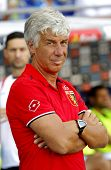 BARCELONA - AUG, 17: Genoa CFC manager Gian Piero Gasperini during a friendly match against RCD Espanyol at the Estadi Cornella on August 17, 2014 in Barcelona, Spain