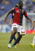 BARCELONA - AUG, 17: Moro Alhassan of Genoa CFC in action during a friendly match against RCD Espanyol at the Estadi Cornella on August 17, 2014 in Barcelona, Spain