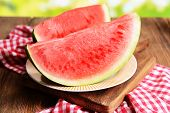 Juicy watermelon on table close-up