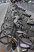 PARIS, FRANCE - NOVEMBER 07, 2012: Velib bucycles in the row on January 6, 2012 in Paris, France. Ve