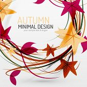 Autumn leaves and lines abstract design with sample text. Nature concept flying fall elements on gray