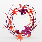 Autumn leaves and lines abstract design with sample text. Nature concept flying fall elements on gra