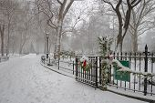 Winter scene in Madison Square Park, Manhattan, NYC.