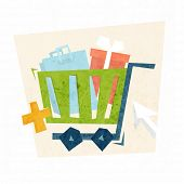 Online Shopping and Payments Concept Icons. Christmas Gifts. Flat Style Vector Illustration.