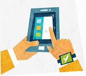 Mobile Technologies Concept. Tablet PC and Hands. Flat Style Vector Illustration.