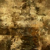art abstract acrylic and pencil background in beige, brown, green and black colors