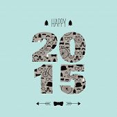 Happy new year 2015 typography and hipster illustration pattern invitation cover card design in vect