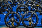 picture of dispatch  - Background of hand wheels of industrial valves ready for dispatch on Euro pallet