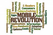 Mobile Revolution word cloud on white background.