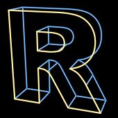 glowing letter R isolated on black background
