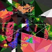 abstract triangle background, digital collage