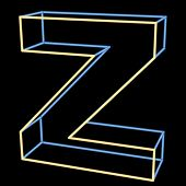 glowing letter Z isolated on black background